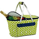 Picnic at Ascot Trellis Green Collapsible Insulated Basket