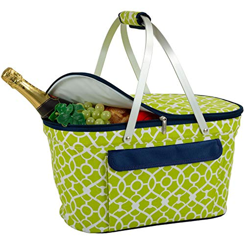 Picnic at Ascot Large Family Size Insulated Folding Collapsible Picnic Basket Cooler with Sewn in Frame - Trellis Green