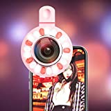 Ocamo Phone Camera Lens Selfie Ring Light HD Wide Angle Lens Fisheye Lens Supplement Light Rose gold