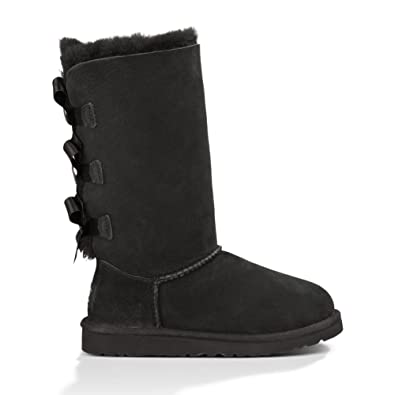 UGG Australia Baily Bow Tall Black Sheepskin Youth Boots Size 6 - 1007309Y