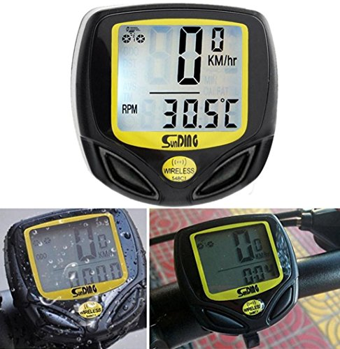 Bicycle Speedometer and Odometer(4.5×4.5CM) -Wireless Waterproof Cycle Bike Computer with LCD Display & Multi-Functions ,Tuscom