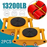 Heavy Duty Machine Dolly Skate Industrial Machinery Roller Mover Cargo Trolley with 360 Degree Rotation 13200 LBS Capacity 2 PCS