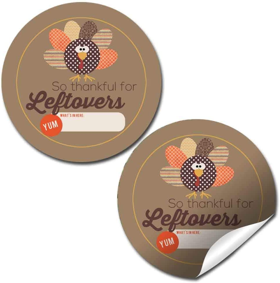 "Thankful for Leftovers Thanksgiving Leftover Container Sticker Labels, 40 2"" Party Circle Stickers by AmandaCreation, Great for Gift Bag Seals"