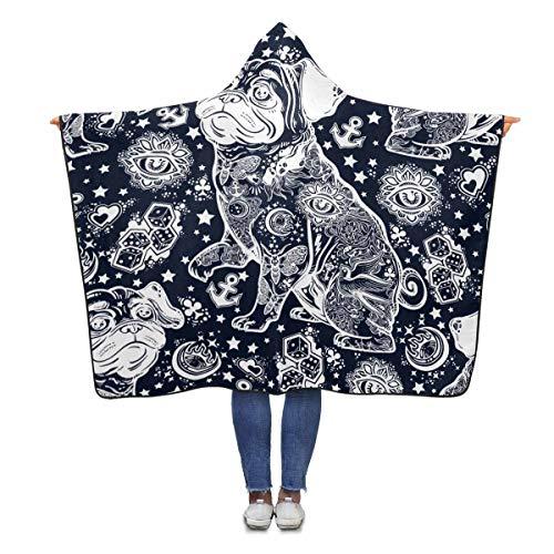 INTERESTPRINT Tattoo Bulldog Throw Blanket 80 x 56 inches Adults Girls Boys Polar Fleece Blankets with Hood ()
