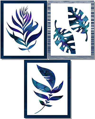 Blue Wall Art - Indigo Tropical Leaves Art Prints - Modern Botanical Leaf Decor - Set of 3-8x10 - Unframed