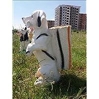 M3Decorium DKM3SEPTKOPK60BYZ1 Kemikli Sevimli Köpek İç Dış Mekan 55 cm Şemsiyelik Sepetli Heykel