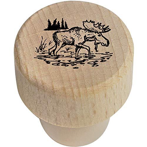 Azeeda 19mm 'Walking Moose' Wooden Bottle Stopper / Cork (BS00015450) (Wine Stopper Head Moose)