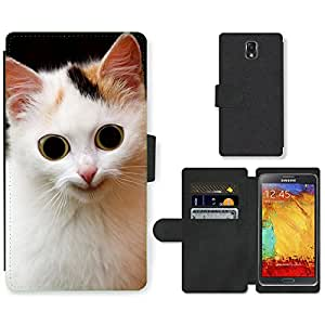 PU LEATHER case coque housse smartphone Flip bag Cover protection // M00116829 Gato animal asustadizo Orejas // Samsung Galaxy Note 3 III N9000 N9002 N9005