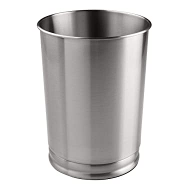 mDesign Metal Wastebasket Trash Can for Bathroom, Office, Kitchen - Tall, Brushed Stainless Steel