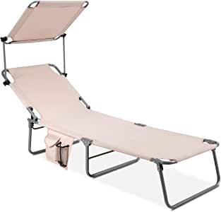 GYMAX Folding Chaise Longue, Adjustable Beach Chair with Canopy Sun Shade & Side Pockets, Heavy Duty Sunbathing Recliner Cot for Outdoor Patio Yard Poolside (Beige)