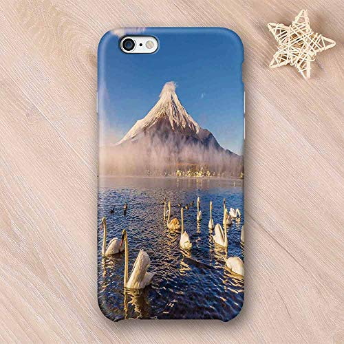 (Landscape Elegant Compatible with iPhone Case,Mount Fuji Reflected in Lake Yamanaka at Dawn Japan Several Swans Image Print Compatible with iPhone 6/6s,iPhone)