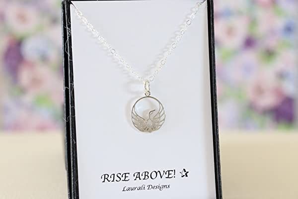Small Phoenix Rising Sterling Silver Charm Necklace