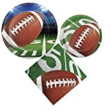 Football Party Supply Pack: Bundle Includes Dinner Plates, Dessert Plates, and Lunch Napkins for 8 Guests
