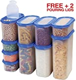 kitchen cabinet food storage - Food Storage Containers Set -STACKO- 20 PC. SET - Airtight Dry Food Container with Lids, BONUS 2 POURING LIDS - Durable Clear Frosted Plastic BPA Free - Space Saver Modular Design -10 Container set