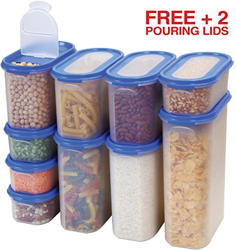 Food Storage Containers Set -STACKO- 20 PC. SET - Airtight Dry Food Container with Lids, BONUS 2 POURING LIDS - Durable Clear Frosted Plastic BPA Free - Space Saver Modular Design -10 Container set