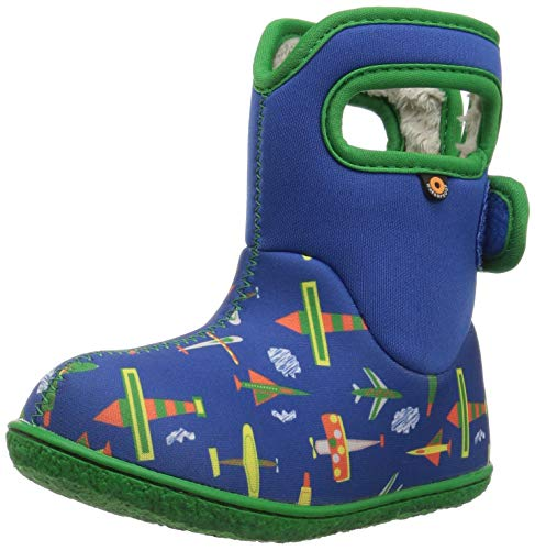 Bogs Baby Snow Boot, Planes Blue/Multi, 5 M US Toddler