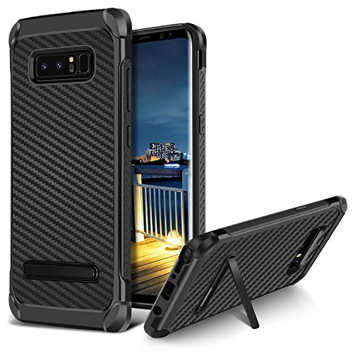 Galaxy Note 8 Case,BENTOBEN 2 in 1 Hybrid Hard PC and Soft TPU Bumper Laminated with Carbon Fiber Texture Heavy Duty Rugged Full-Body Protective Case with Kickstand for Samsung Galaxy Note 8,Black (2 In 1 Bumper Case Note 3)