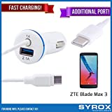 Syrox 10-Pack Type-C Car Charger & Port, Reversible 4 ft Fast Charging for ZTE Blade Max 3, Samsung Galaxy Note 8, S8 Plus, LG V30, V20, G6, G5, Google Pixel, 6P, Nintendo Switch and All