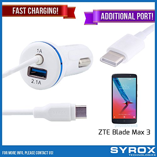 Syrox 10-Pack Type-C Car Charger & Port, Reversible 4 ft Fast Charging for ZTE Blade Max 3, Samsung Galaxy Note 8, S8 Plus, LG V30, V20, G6, G5, Google Pixel, 6P, Nintendo Switch and All by Syrox