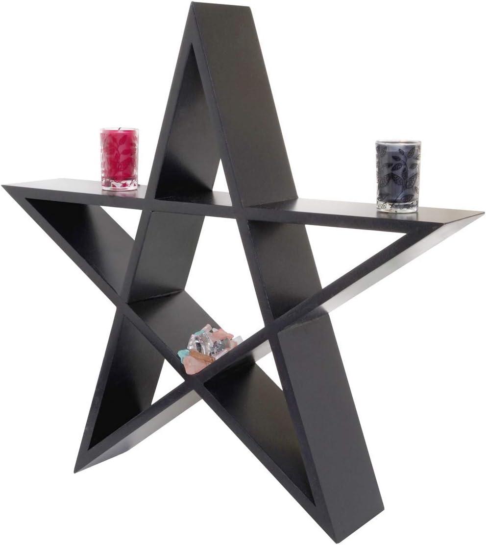 HomeDcore Pentagram Shelf Gothic Shelf Decor - Star Shelf - Goth Bedroom Decor - Witchy Decor - Pagan Wiccan Decor - Black Floating Shelf Ideal to Display Crystals and Knick Knacks
