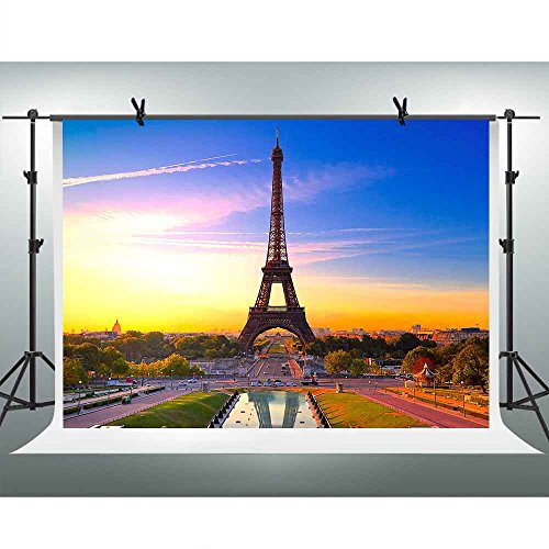 FHZON 10x7ft The Famous Eiffel Tower Background Sunset City Street Photography Backdrop Themed Party YouTube Backdrops Photo Booth Studio Props FH1332]()