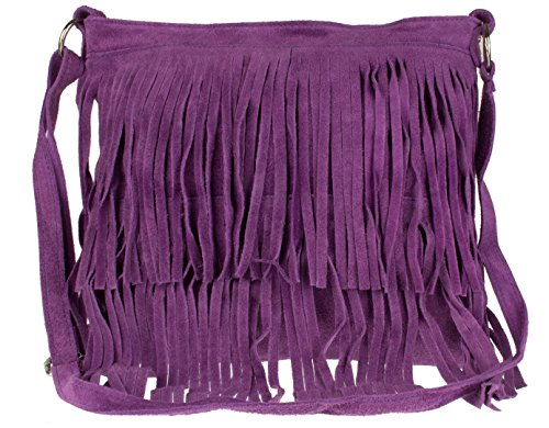 Girly Handbags Suede Fringe Shoulder Bag