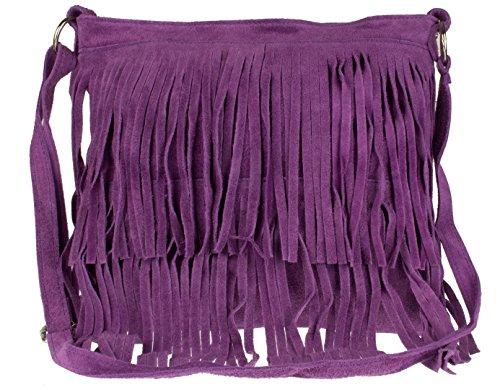 Girly HandBags - Bolso bandolera de Cuero mujer, color Morado, talla Talla Unica