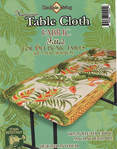 - Hawaiian Tropical Flower fitted Tablecloth (Fits 6 ft picnic tables, spicing up any party))