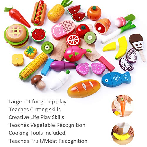 iPlay, iLearn Cutting & Cooking Toy, Wooden Food, Pretend Play Kitchen Set, Magnetic Wood Fruit, Early Educational Development, Learning Gift for 2, 3, 4, 5, 6 Year Old Kids, Toddlers, Boys & Girls