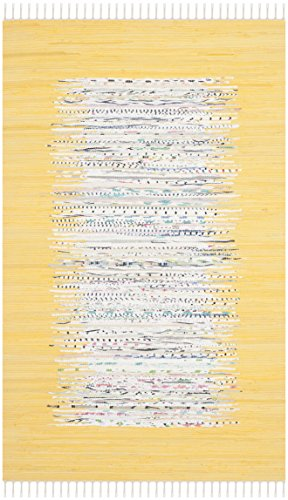 Safavieh Montauk Collection MTK711Q Handmade Flatweave Ivory and Yellow Cotton Area Rug (3' x 5') ()