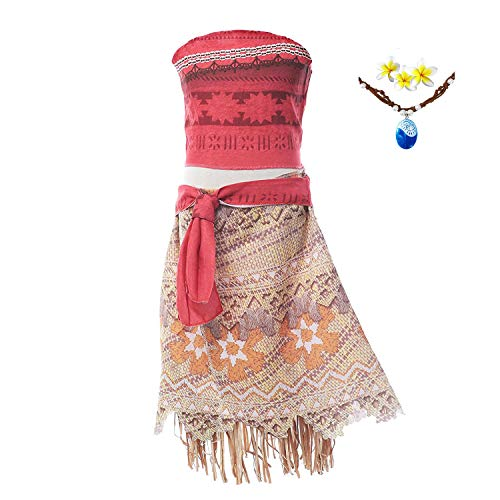 Moana Girls Adventure Outfit Cosplay Costume Skirt Set with Necklace&flower (3.94FT)]()