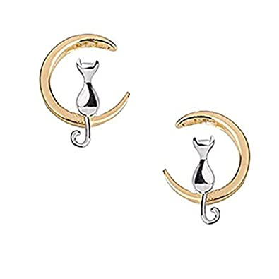 findout 925 sterling silver Cute Cat Love You on The Moon earrings(f1742) auJsMpi3N