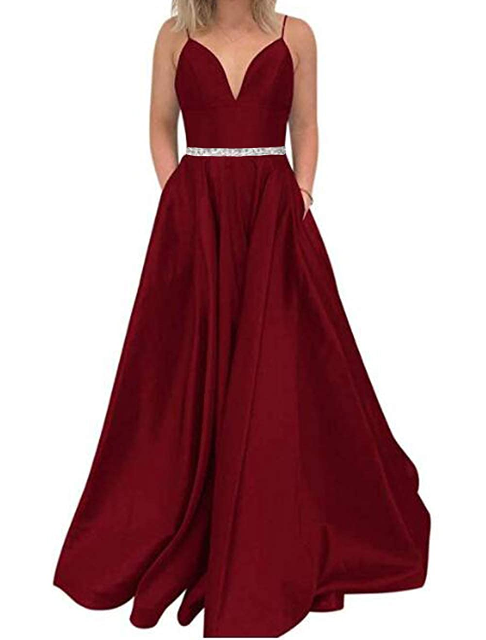 Burgundy Tsbridal Women's A Line Bead Prom Dresses V Neck Satin with Pockets Evening Gown
