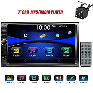 "Regetek Car Rear View Camera + Double Din 7"" Touchscreen In Dash Stereo Car Receiver Audio Video Player Bluetooth FM Radio Mp3 /TF/ USB/ AUX-in/Subwoofer/Steering wheel controls+Remote Control"