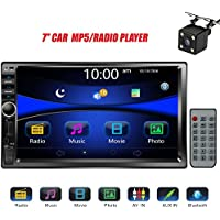 Regetek Car Rear View Camera + Double Din 7' Touchscreen In Dash Stereo Car Receiver Audio Video Player Bluetooth FM Radio Mp3 /TF/ USB/ AUX-in/Subwoofer/Steering wheel controls+Remote Control