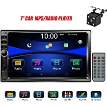 """Regetek Car Rear View Camera + Double Din 7"""" Touchscreen In Dash Stereo Car Receiver Audio Video Player Bluetooth FM Radio Mp3 /TF/ USB/ AUX-in/Subwoofer/Steering wheel controls+Remote Control"""