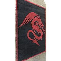 Champion Rugs Japanese Dragon Style Area Rug Carpet Red Black (4 Feet X 5 Feet 3 Inches)