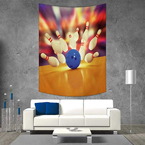 smallbeefly Bowling Party Tapestry Wall Tapestry Spread Skittles Blue Ball on a Wooden Floor Moment Crash Themed Print Art Wall Decor 54W x 84L INCH Multicolor