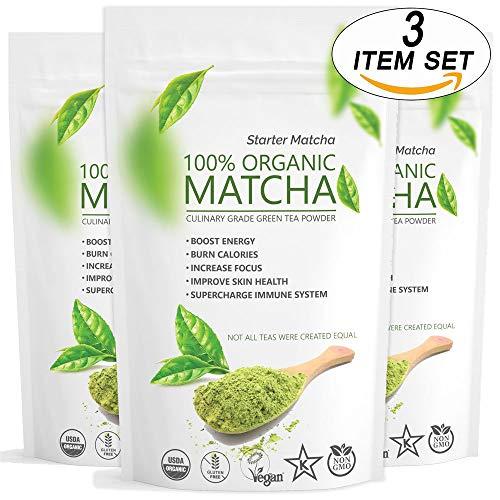 Starter Matcha Green Tea Powder 3x12oz | USDA Organic | Vegan | GMO-Free | Matcha for Baking | Latte | Smoothie | Cookies | Ice Cream