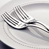 King / Queen - Stainless Steel Stamped Fork Set, Stamped Wedding Silverware for Wedding Cake   Valentine Gift for Couples