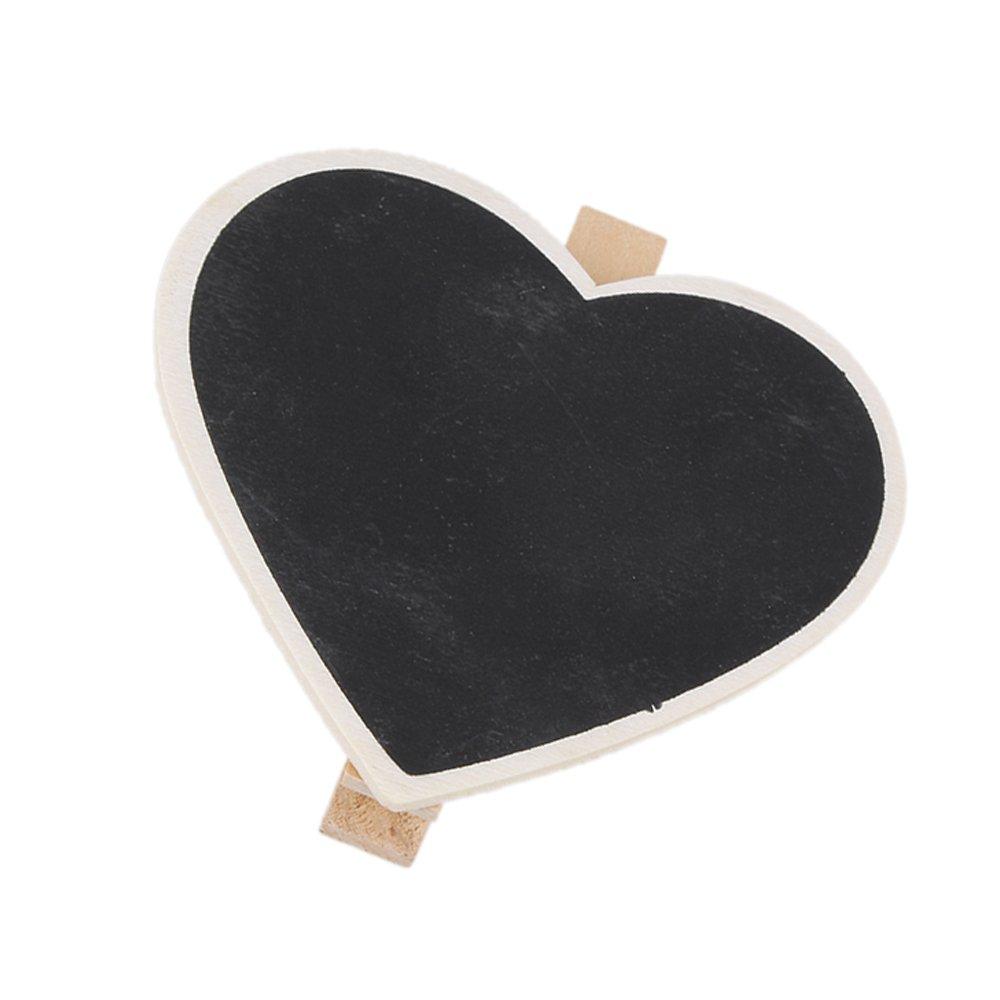 BQLZR Mini Klammer Herz Nachricht Verlassen Notiz für Schwarz Tafel 20er Pack N10495