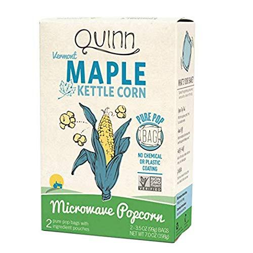 Quinn Microwave Popcorn Maple & Sea Salt, 7-ounce Bags (Pack of 6)