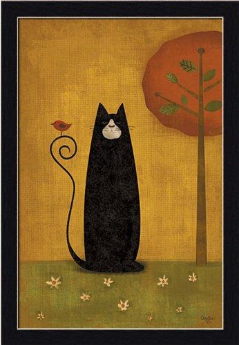 Folk Art House - Cat Tails I by Mollie B Folk Art Black Cat 13.5x19.5 in Framed Art Print Picture