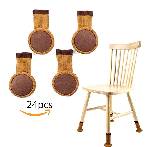 Wool Chair Pads - LIKIQ Chair Leg Socks for Hard Wood Floor Protectors,Furniture Stretch Knitting Wool Socks with Felt Pads,Fit Square & Round Feet Girth 3-6/11