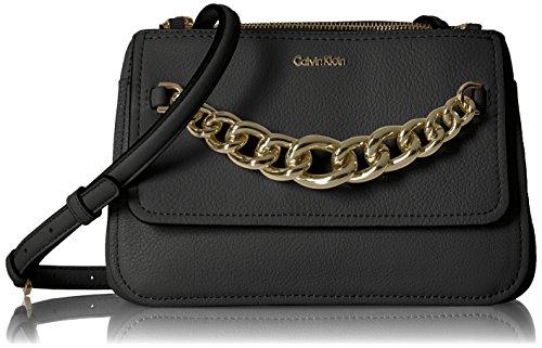 Gold Klein Black Crossbody Key Calvin Pebble Flap Item FqH77wR