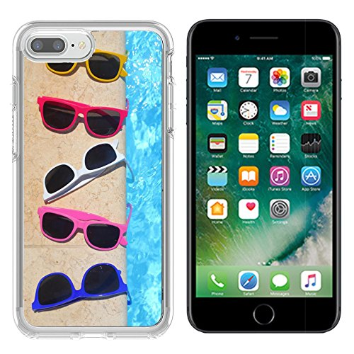Luxlady Apple iPhone 7 plus/8 plus Clear case Soft TPU Rubber Silicone Bumper Snap Cases iPhone7 plus/8 plus IMAGE ID 30690352 Colorful sunglasses in the row by the - 8 Sunglasses Row