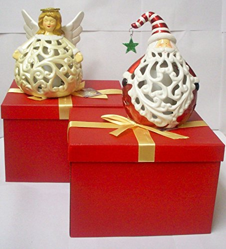 QVC Home Reflections Angel and Santa Flameless Luminaries Gift Boxes H199871
