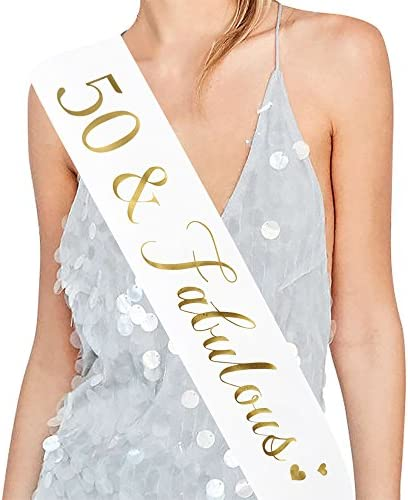 HOWAF Rose Gold 50th Birthday Sash One Size 50 and Fabulous Birthday Satin Sash for 50th Birthday Decorations Women 50 Birthday Gift Party Accessories