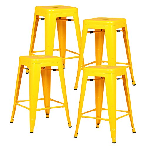 Poly and Bark Trattoria 24 Counter Height Industrial Bar Stool, Stackable, Yellow (Set of 4)