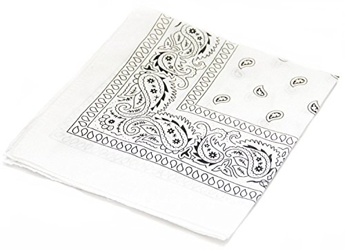 ComboCube 12 Pack(one Dozen) Multi-Purpose Cotton Paisley Cowboy Bandanas Headband for Men and Women (White)]()